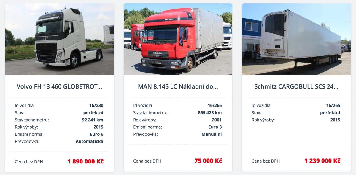Výkup nákladních aut